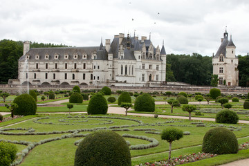 Garden and Castle of Chenonceau in the Loire Valley.