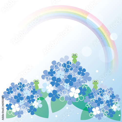 Frogs and hydrangea with beautiful rainbow