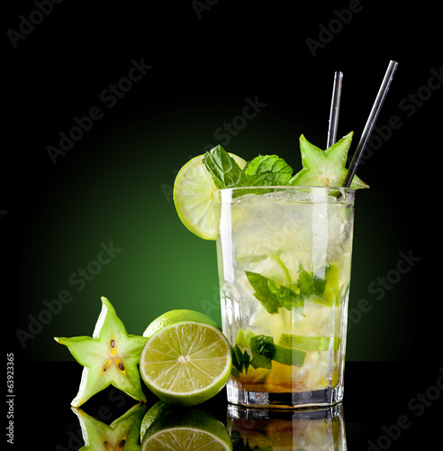 Mojito drink on black background