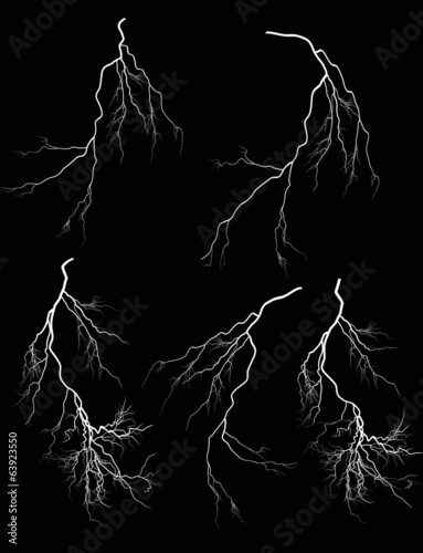 group of five white lightnings on black