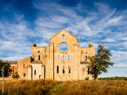 canvas print picture San Galgano roofless abbey Tuscany