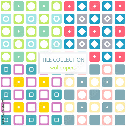 colorful set of tiles wallpapers with circles and squares