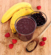 Blueberry smoothie with bananas, raspberries and flax seeds