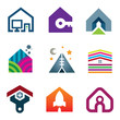 Beautiful modern house creative construction of future icon set