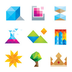 Extremely creative beautiful design geometric art icon set