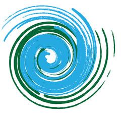 Spirale verde blu