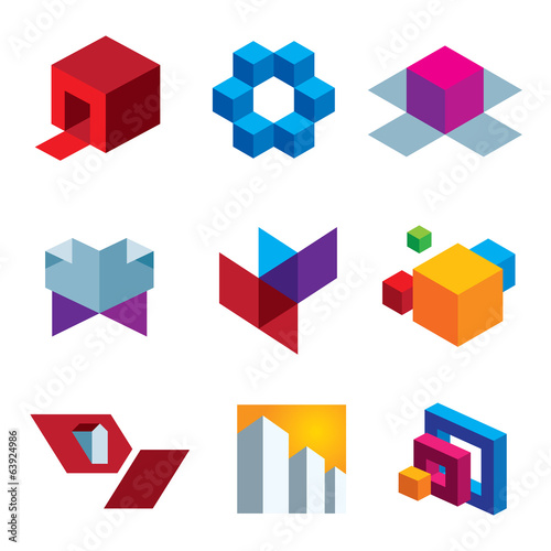 Human great imagination and box cube creativity icon set