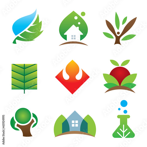 Green eco environment science for brighter future icon set