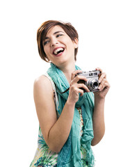 Beautiful woman with a vintage camera
