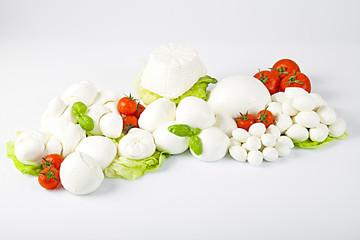 Mozzarelle fresche italiano con pomodori e lattuga