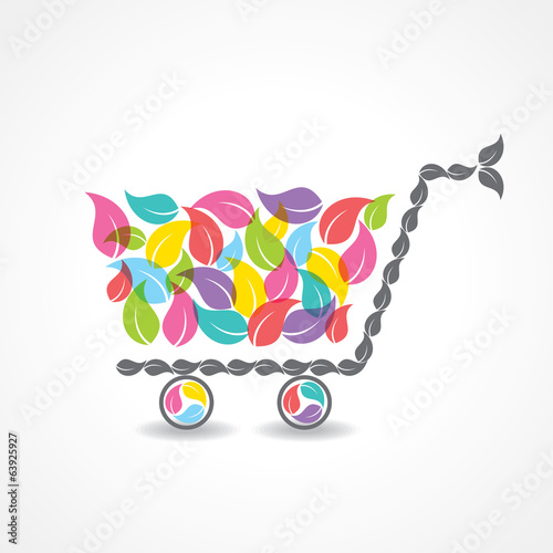 shopping cart with group of colorful leaf stock vector