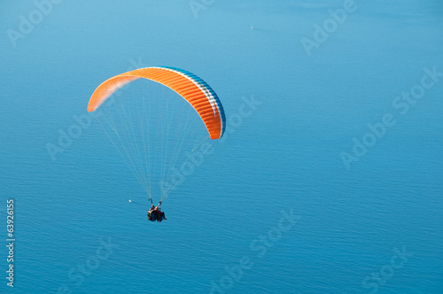 Paragliding in Turkey. Panoramic view on Mediterranean.