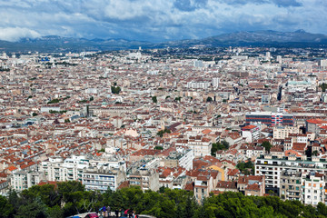 Marseille, France panorama. View from the Notre Dame de la Garde