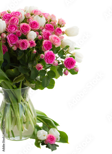 bouquet fresh pink roses and white tulips close up