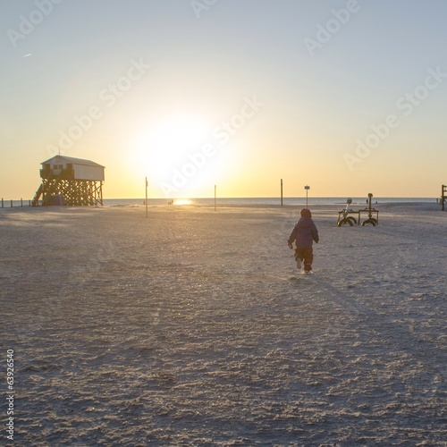 canvas print picture abend am strand