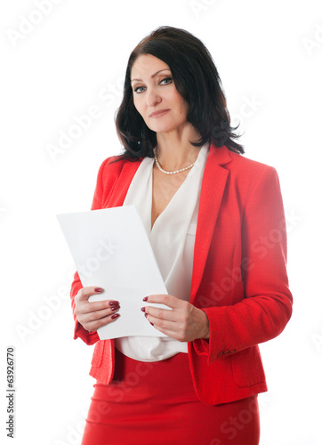 woman holding a sheet of white paper