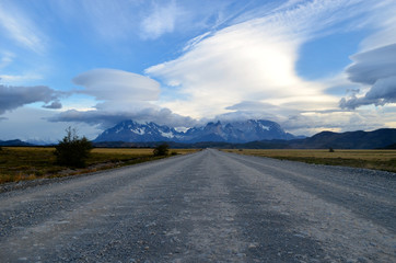 Gravel road in Torres del Paine, Patagonia