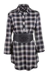 Plaid female shirt with belt