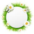 Runde Karte mit Frühlingswiese