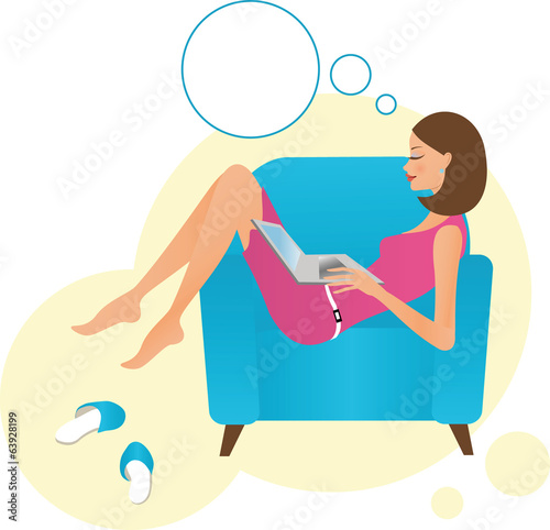 Young woman with speech bubble and laptop