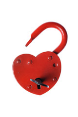 Heart shaped padlock and  key  isolated on white