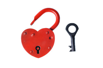 Heart shaped padlock and  key  isolated on white