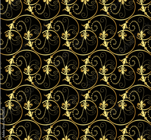 Golden seamless pattern ornament on black background
