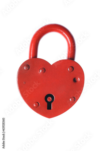 Heart shaped padlock isolated on white