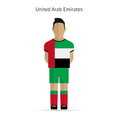 United Arab Emirates football player. Soccer uniform.