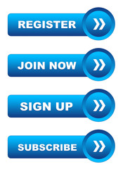 JOIN NOW - SIGN UP - REGISTER - SUBSCRIBE Blue Web Buttons Set