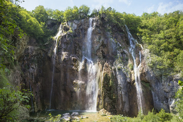 Veliki Slap, large waterfall in Plitvice, Croatia