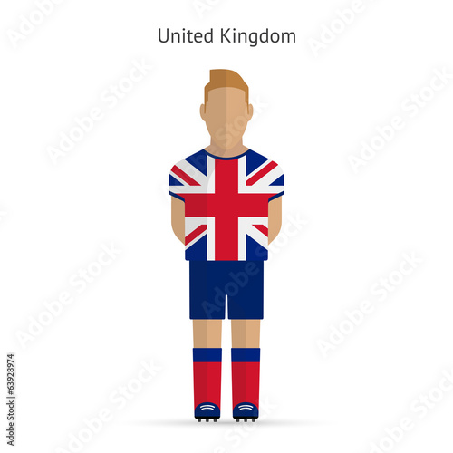 United Kingdom football player. Soccer uniform.