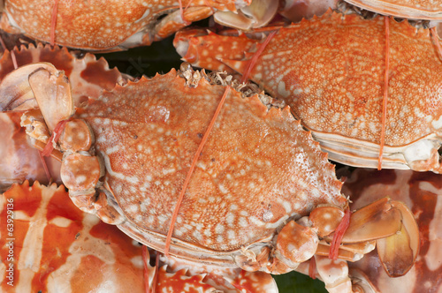 Steam crabs in seafood market.