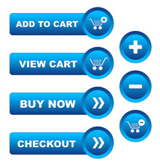 e-SHOPPING buttons (icons store shop trolley basket)
