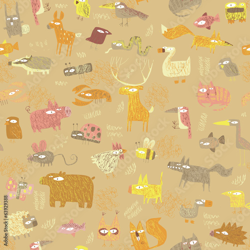 Grunge Animals seamless pattern