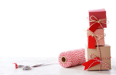 Handmade small boxes with scissors and spool