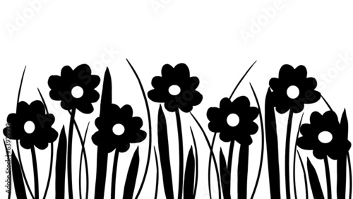 Silhouette of spring flowers and grass