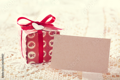 Present boxes and blank message card