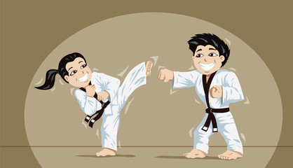 Cute kids practicing martial arts