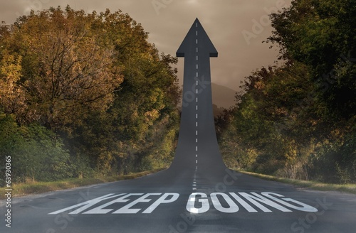 Keep going against road turning into arrow
