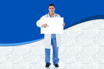 Composite image of young doctor showing card
