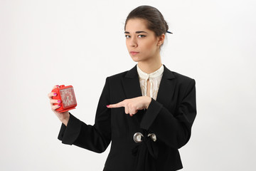 business woman with alarm in his hand