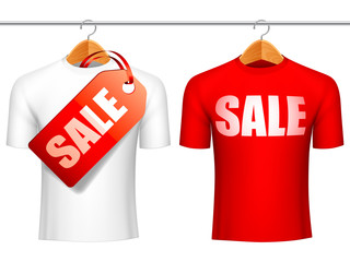 Two t-shirts with sale announcement.