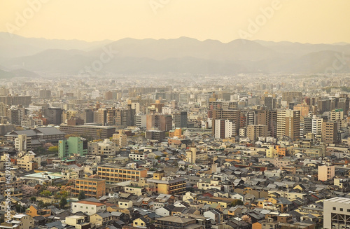 Evening view of Kyoto city