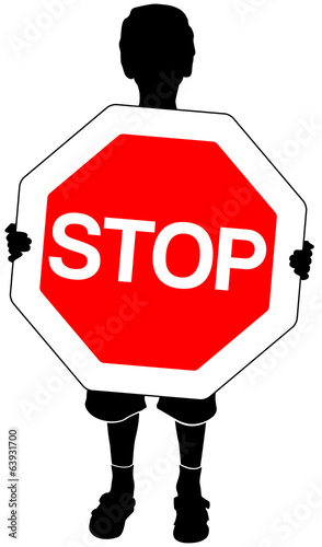 isolated silhouette of boy with stop sign in hands