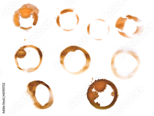 Variety of coffee cup rings isolated on a white background