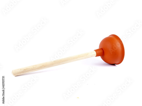 Red plunger used for unclogging toilets or sinks