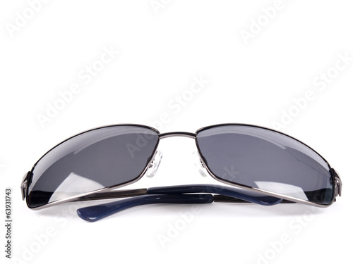 Black aviator sunglasses with polarized dark glass