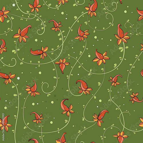 pattern with exotic flowers