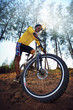 young man riding mountain bike mtb in jungle track use for sport - 63932326